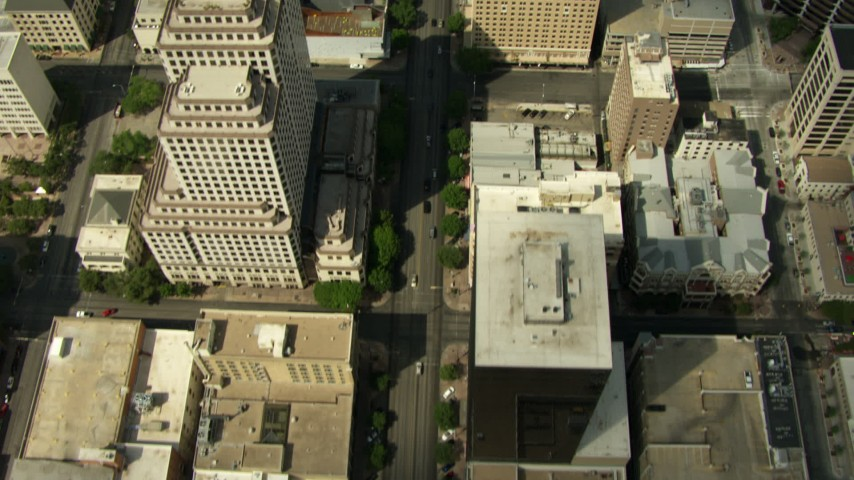 HD stock footage aerial video bird's eye of North Congress Avenue, reveal Texas State Capitol, Downtown Austin, Texas Aerial Stock Footage | AF0001_000109