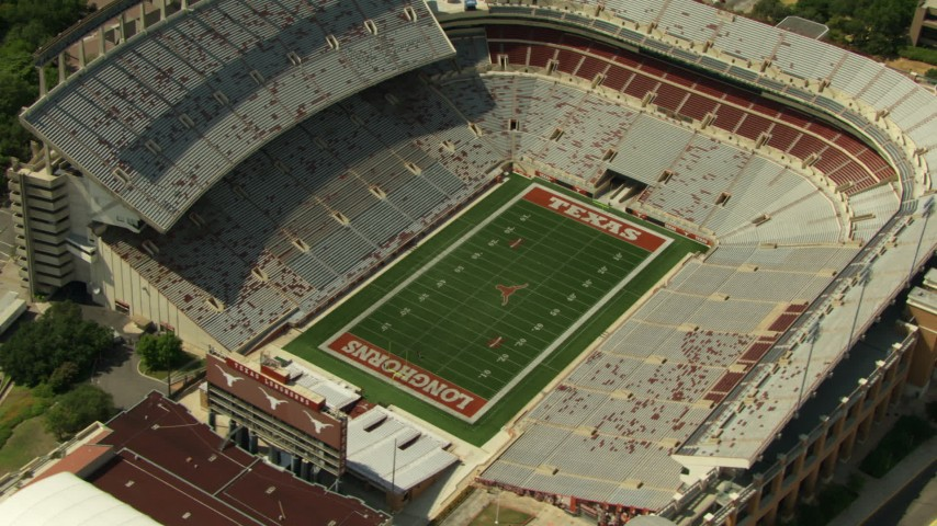 Approach and orbit Texas Memorial Stadium in Austin, Texas Aerial Stock Footage | AF0001_000110
