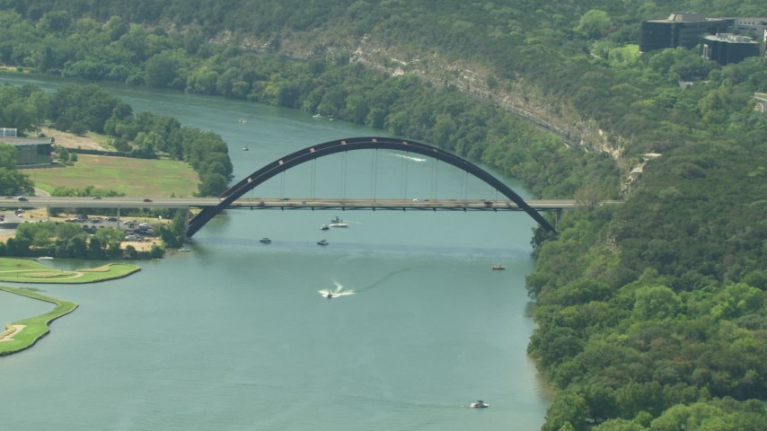 The Pennybacker Bridge spanning Lake Austin, Texas Aerial Stock Footage | AF0001_000122