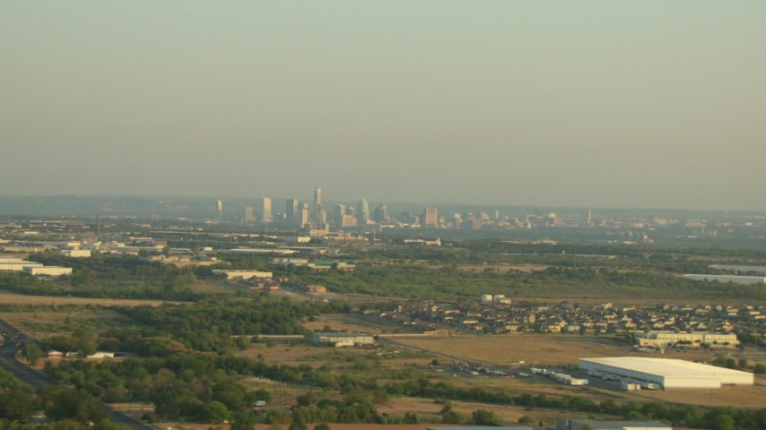A view of the skyline of Downtown Austin, Texas Aerial Stock Footage | AF0001_000123