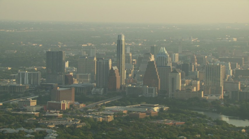 A view of Downtown Austin skyscrapers, Texas Aerial Stock Footage | AF0001_000130