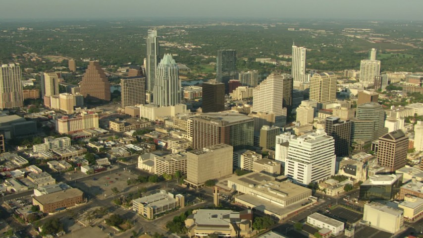Flyby city buildings and skyscrapers in Downtown Austin, Texas Aerial Stock Footage | AF0001_000132