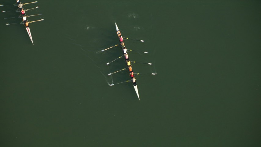 HD stock footage aerial video of rowing teams practicing on Lady Bird Lake in Austin, Texas Aerial Stock Footage | AF0001_000135