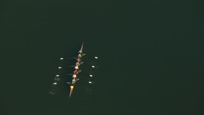 Rowers on Lady Bird Lake, and reveal Mopac Expressway Bridges, Austin, Texas Aerial Stock Footage | AF0001_000136