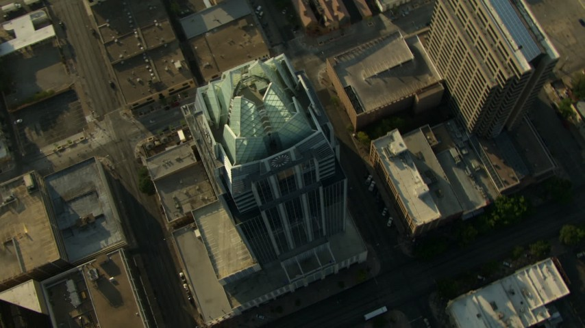 Approach and track Frost Bank Tower in Downtown Austin, Texas Aerial Stock Footage | AF0001_000142