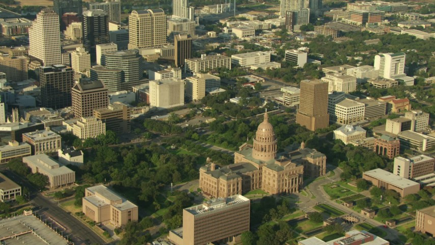 Texas State Capitol in Downtown Austin, Texas Aerial Stock Footage | AF0001_000143