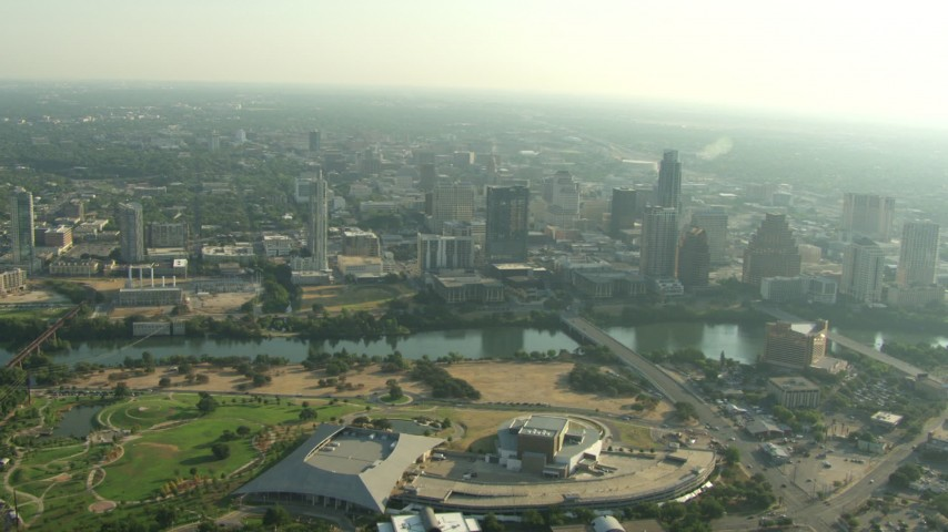HD stock footage aerial video of Palmer Events Center, Long Center for the Performing Arts, and Downtown Austin, Texas Aerial Stock Footage | AF0001_000150