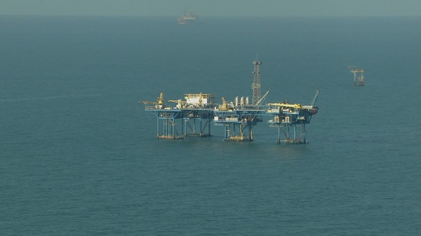 A large oil platform in the Gulf of Mexico Aerial Stock Footage | AF0001_000167