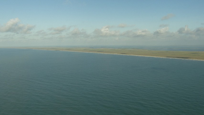 HD stock footage aerial video of a view of the Matagorda Peninsula, Texas while flying over the Gulf of Mexico Aerial Stock Footage | AF0001_000171