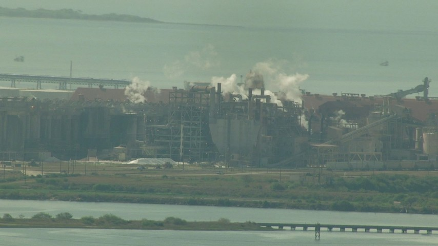 The Alcoa Aluminum Plant next to Lavorna Bay, Point Comfort, Texas Aerial Stock Footage | AF0001_000217
