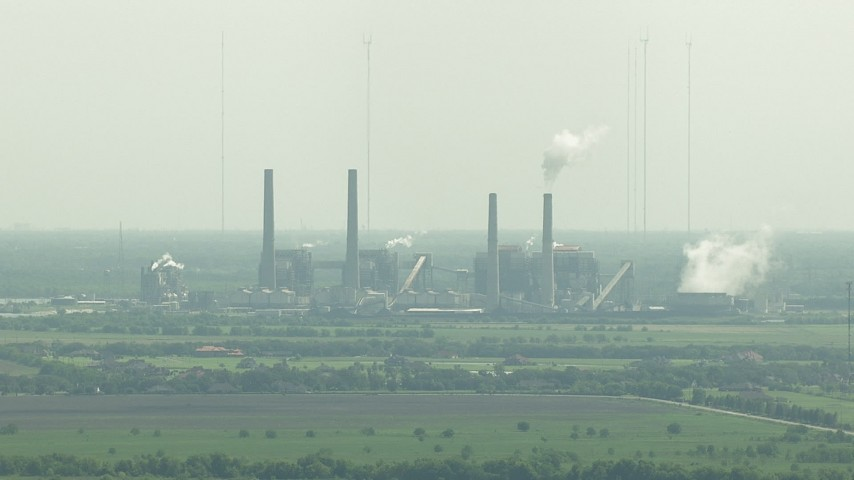 HD stock footage aerial video of the WA Parish Generating Station by Smithers Lake, Texas Aerial Stock Footage | AF0001_000236