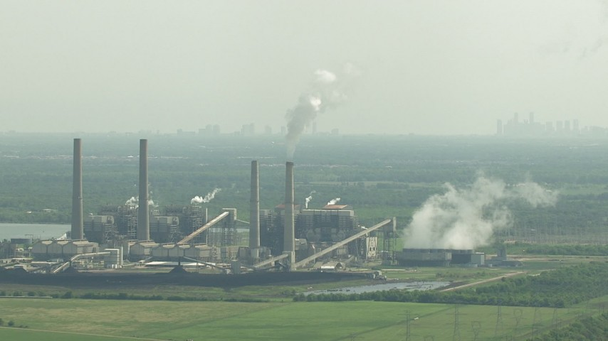 HD stock footage aerial video zoom to a wider view of WA Parish Generating Station on Smithers Lake, Texas Aerial Stock Footage | AF0001_000239