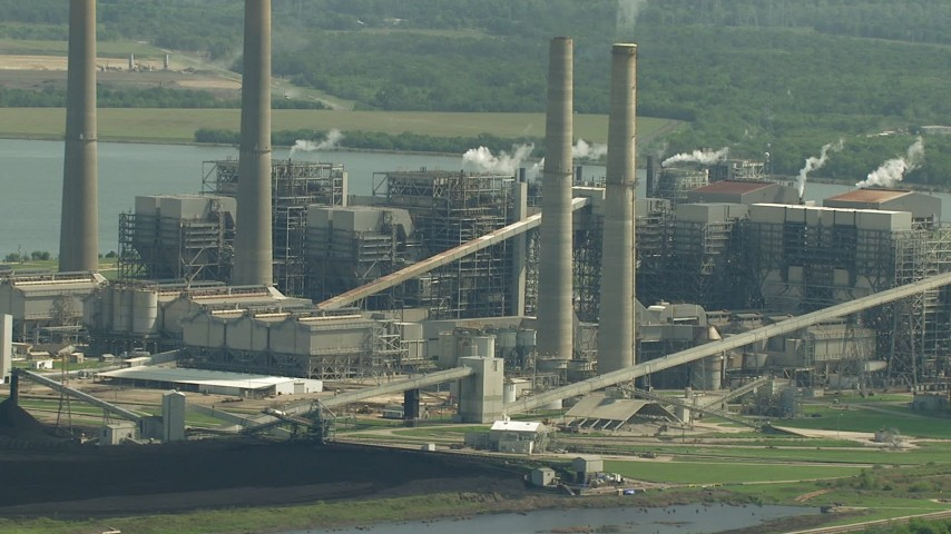 HD stock footage aerial video flyby smoke stacks and plant structures at WA Parish Generating Station by Smithers Lake, Texas Aerial Stock Footage | AF0001_000241