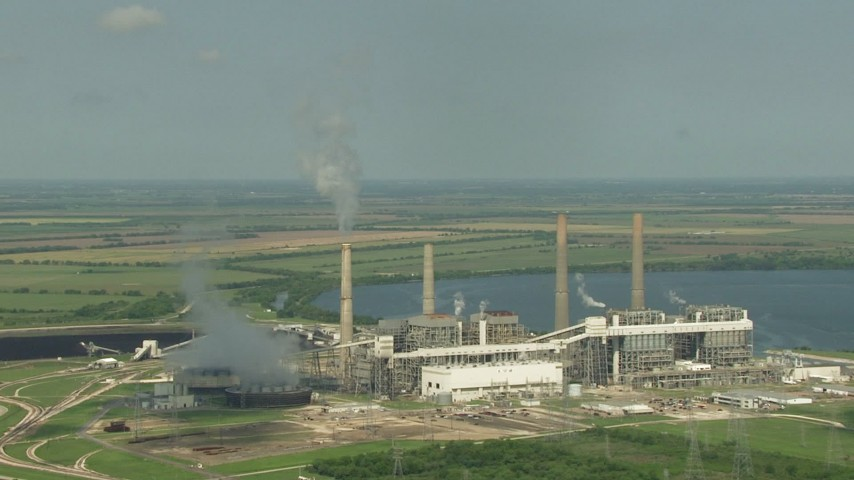 HD stock footage aerial video of a reverse view of the lakeside power plant by Smithers Lake, Texas Aerial Stock Footage | AF0001_000244