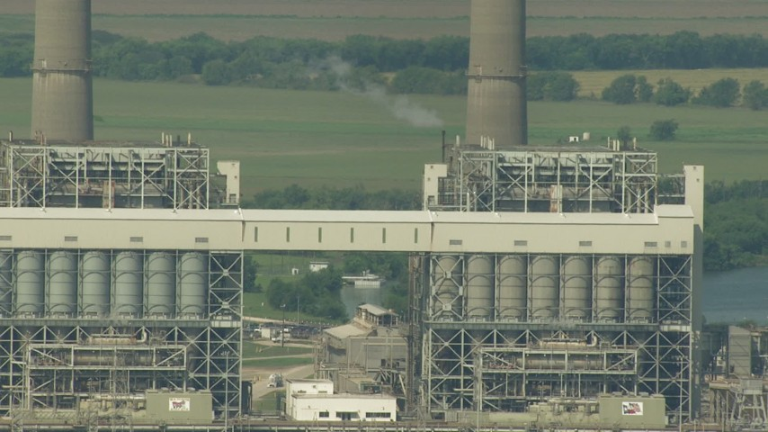 HD stock footage aerial video flyby structures at the power plant by Smithers Lake, Texas Aerial Stock Footage | AF0001_000246