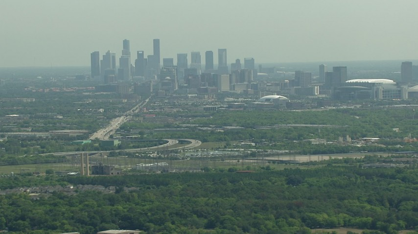 The city skyline of Downtown Houston, Texas Aerial Stock Footage | AF0001_000250