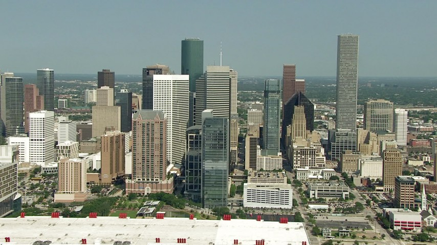 HD stock footage aerial video flyby the skyscrapers in Downtown Houston, Texas Aerial Stock Footage | AF0001_000261