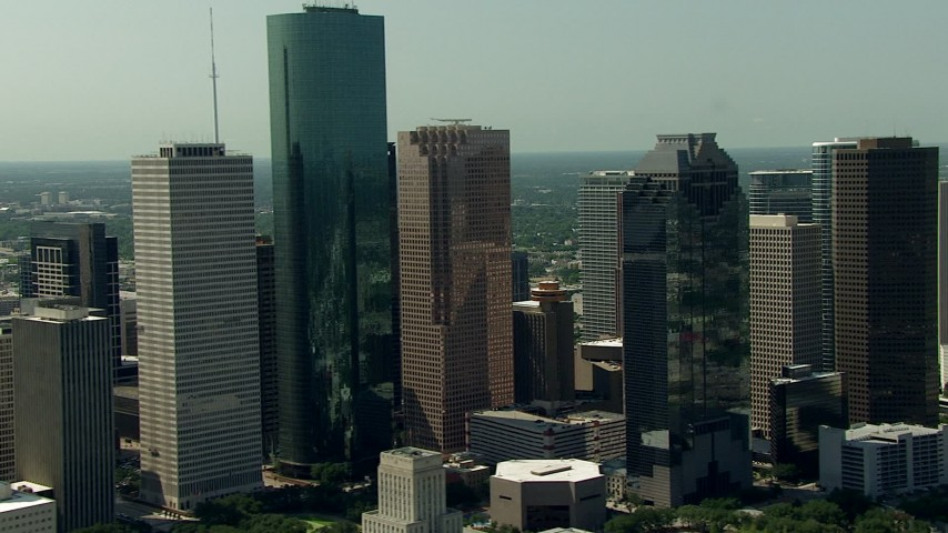 Flyby city high-rises in Downtown Houston, Texas Aerial Stock Footage | AF0001_000264