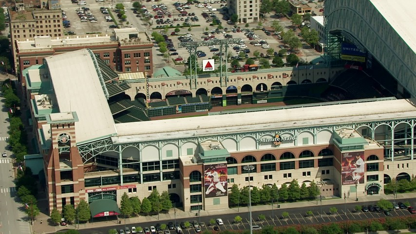 HD stock footage aerial video of Minute Maid Park in Downtown Houston, Texas Aerial Stock Footage | AF0001_000267