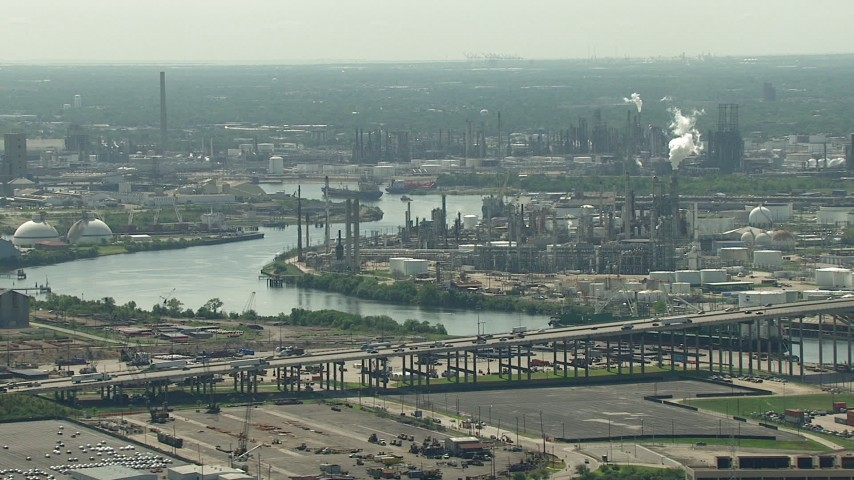 HD stock footage aerial video of 610 Bridge spanning Buffalo Bayou near an oil refinery in Harrisburg, Manchester, Texas Aerial Stock Footage | AF0001_000277