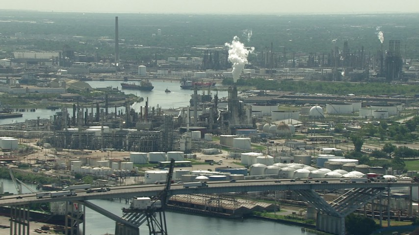 HD stock footage aerial video of a view of an oil refinery seen while passing the 610 Bridge in Harrisburg, Manchester, Texas Aerial Stock Footage | AF0001_000278