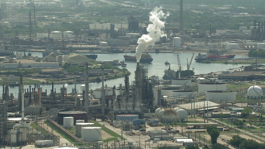 HD stock footage aerial video of riverfront oil refinery by Buffalo Bayou in Harrisburg, Manchester, Texas Aerial Stock Footage | AF0001_000279