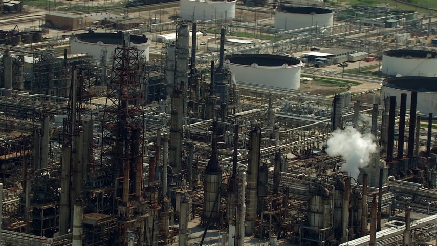 HD stock footage aerial video of flyby an oil refinery in Harrisburg, Manchester, Texas Aerial Stock Footage | AF0001_000281