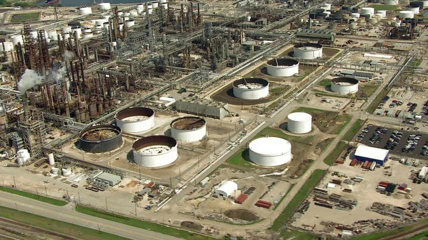 HD stock footage aerial video orbit oil refinery buildings and tanks in Harrisburg, Manchester, Texas Aerial Stock Footage | AF0001_000282