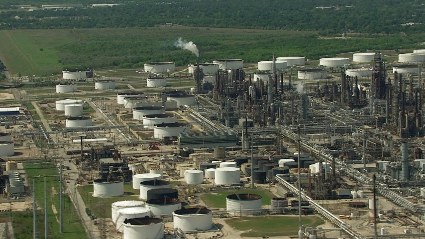 HD stock footage aerial video of flying by an oil refinery and storage tanks in Galena Park, Texas Aerial Stock Footage | AF0001_000289