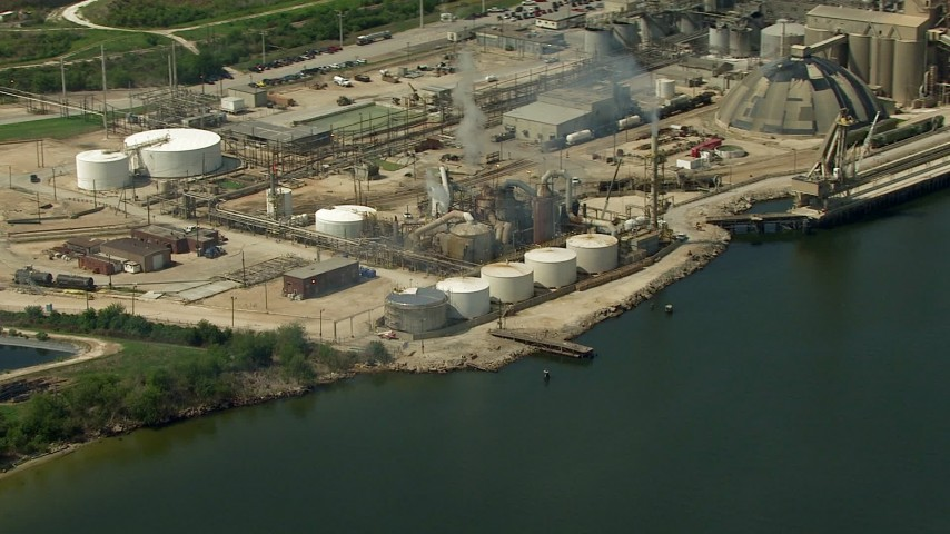 HD stock footage aerial video of a riverside oil refinery in Pasadena, Texas Aerial Stock Footage | AF0001_000292