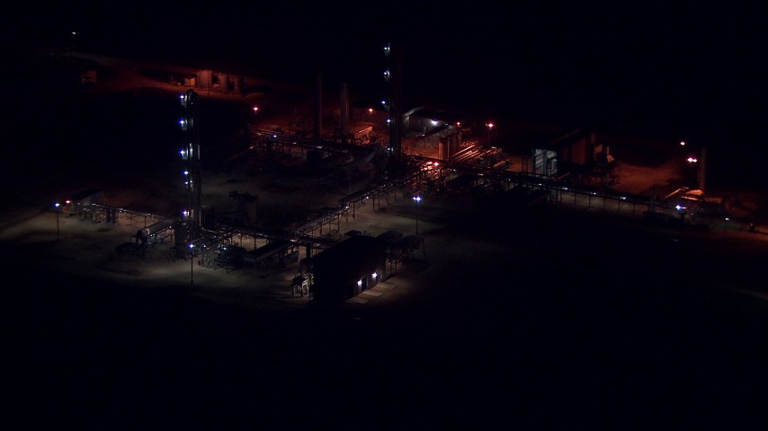 HD stock footage aerial video of buildings at the Alcoa Aluminum Plant at night, Point Comfort, Texas Aerial Stock Footage | AF0001_000305