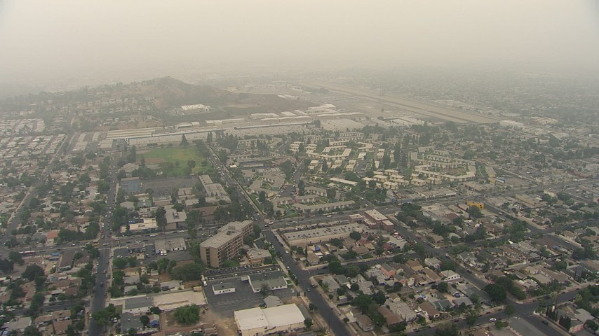 HD stock footage aerial video of neighborhoods near Whiteman Airport in Pacoima, California Aerial Stock Footage | AF0001_000364