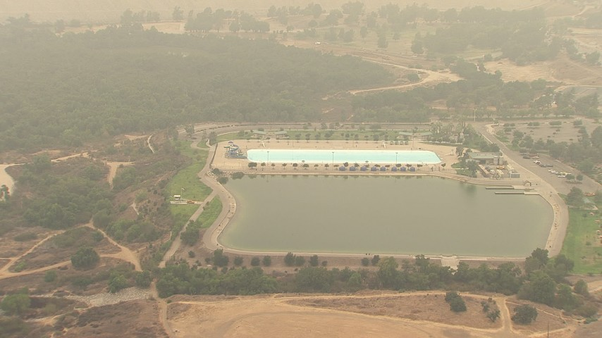 HD stock footage aerial video of the Hansen Dam Aquatic Center in Lake View Terrace, California Aerial Stock Footage | AF0001_000416