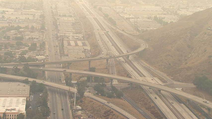 HD stock footage aerial video of light traffic on the 210 / 118 Freeway interchange in Pacoima, California Aerial Stock Footage | AF0001_000418