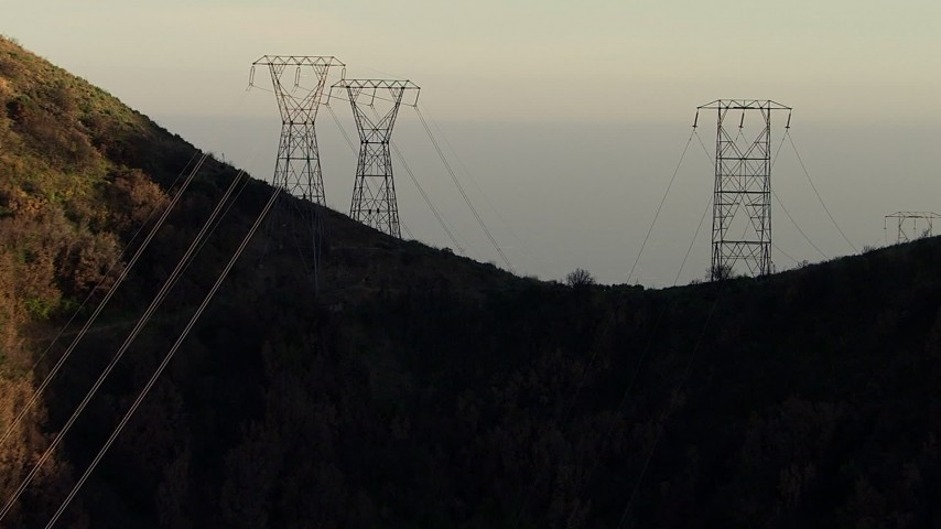 HD stock footage aerial video approach and track power line towers in the San Gabriel Mountains, California Aerial Stock Footage | AF0001_000480