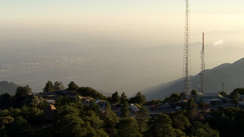 HD stock footage aerial video approach and flyby the radio towers on Mount Wilson, San Gabriel Mountains, California, sunset Aerial Stock Footage | AF0001_000490