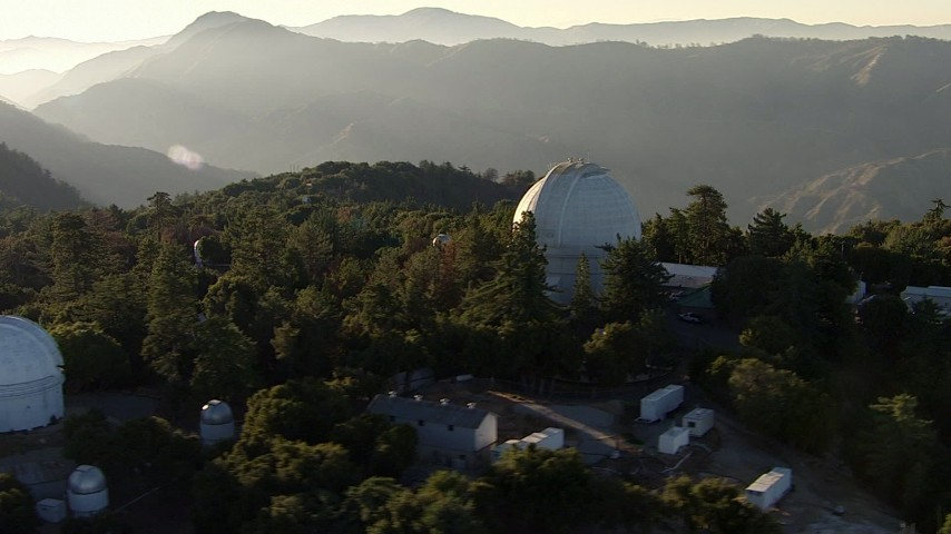 HD stock footage aerial video orbit a telescope at the Mount Wilson Observatory, San Gabriel Mountains, California, sunset Aerial Stock Footage | AF0001_000493