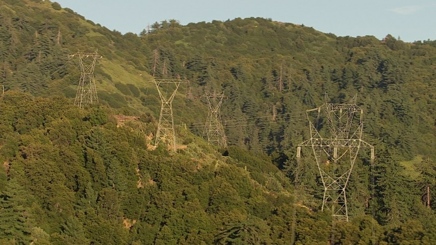 HD stock footage aerial video of flying by a group of power line towers in the San Gabriel Mountains, California Aerial Stock Footage | AF0001_000501