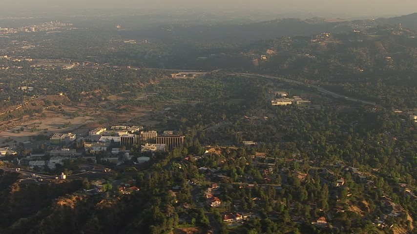 HD stock footage aerial video of the NASA Jet Propulsion Laboratory in Pasadena, California, sunset Aerial Stock Footage | AF0001_000510