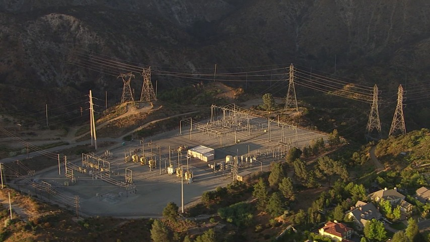 HD stock footage aerial video orbit a power substation in La Cañada Flintridge, California, sunset Aerial Stock Footage | AF0001_000511