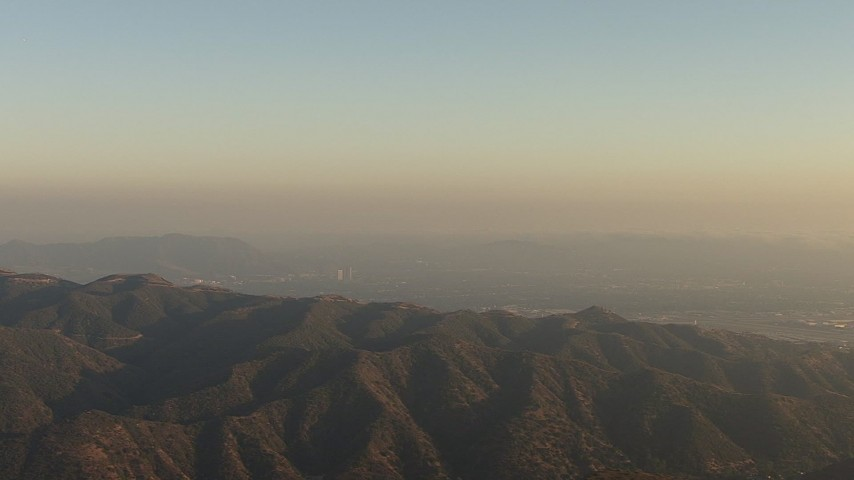 A view of the San Fernando Valley from San Gabriel Mountains, California, twilight Aerial Stock Footage | AF0001_000518