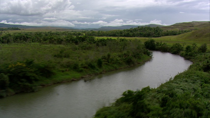 HD stock footage aerial video of following a river through a savanna, Southern Venezuela Aerial Stock Footage | AF0001_000521