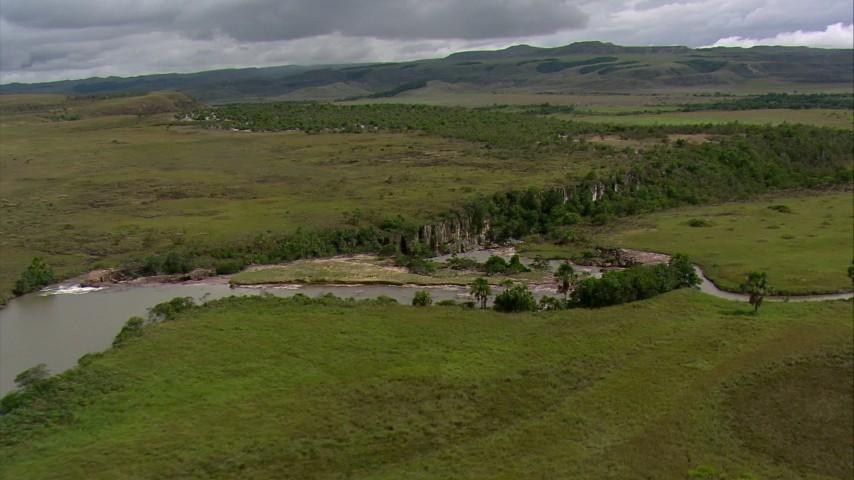Orbit a river waterfall in Southern Venezuela Aerial Stock Footage | AF0001_000530