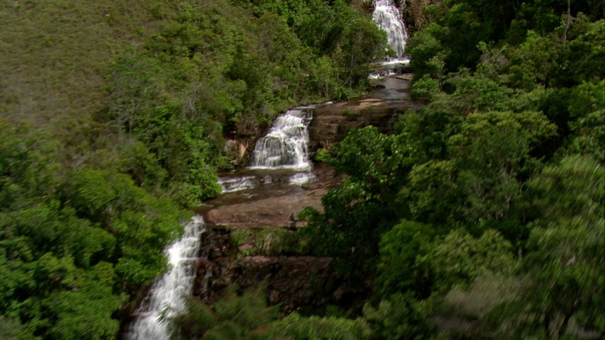 HD stock footage aerial video approach a mountain waterfall surrounded by jungle in Southern Venezuela Aerial Stock Footage | AF0001_000546