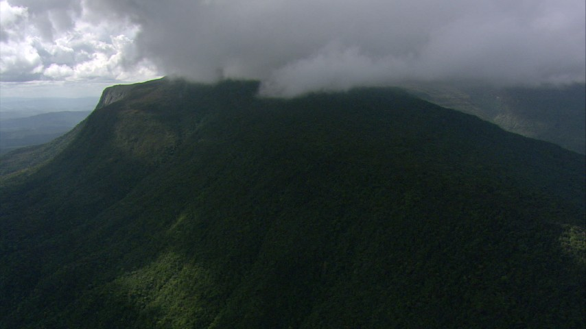 Dense cloud cover over a mountain and jungle in Southern Venezuela Aerial Stock Footage | AF0001_000574