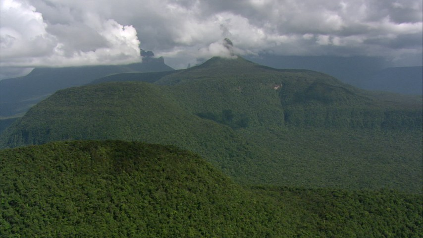 HD stock footage aerial video flyby jungle-covered peaks and ridges in Southern Venezuela Aerial Stock Footage | AF0001_000575