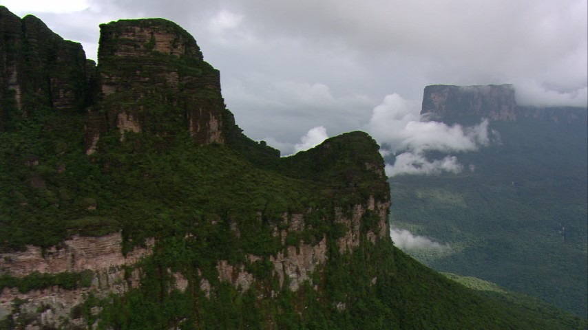 HD aerial stock footage video of rugged mountains and lush jungle in Southern Venezuela Aerial Stock Footage | AF0001_000588