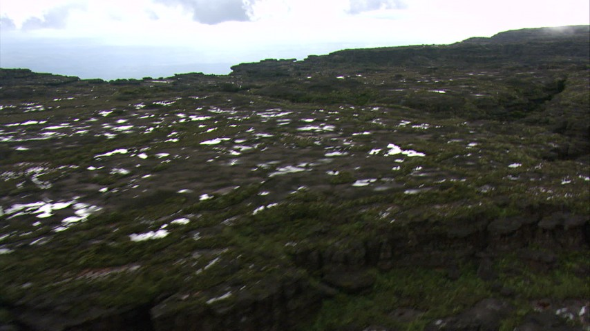 Fly over the top of a flat tropical peak in the Guiana Highlands, Southern Venezuela Aerial Stock Footage | AF0001_000590