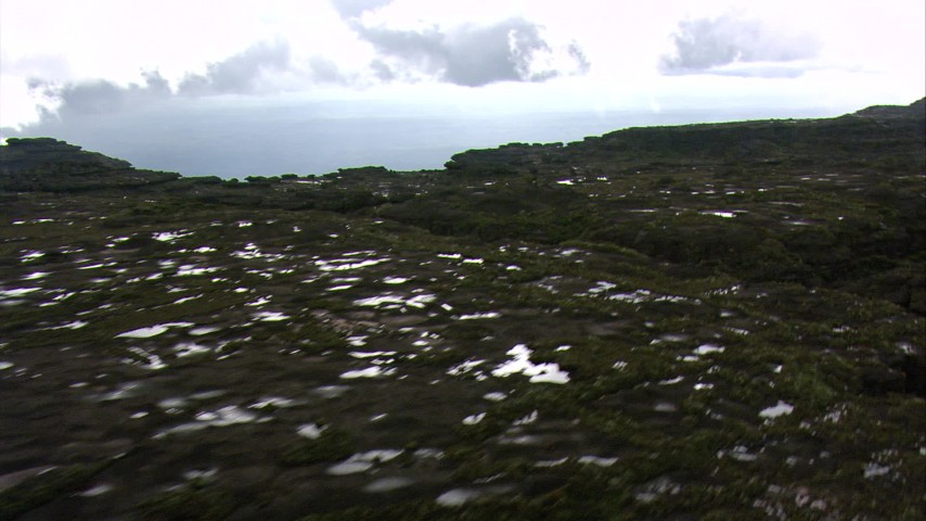HD stock footage aerial video fly over a Guiana Highlands peak summit to reveal jungle, Southern Venezuela Aerial Stock Footage | AF0001_000591