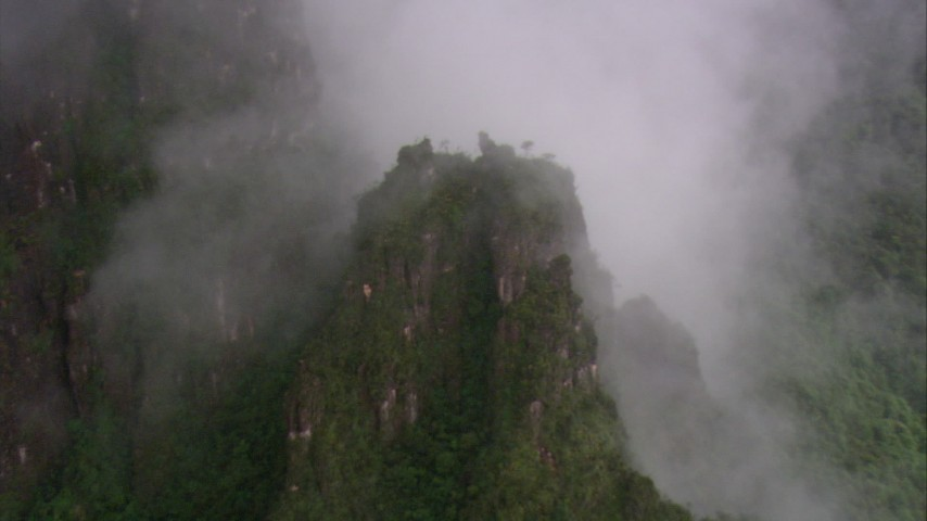 HD stock footage aerial video of approaching a mist shrouded mountain, Southern Venezuela Aerial Stock Footage | AF0001_000601